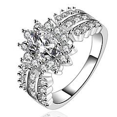 رخيصةأون -نساء خواتم بيان موضة تصفيح بطلاء الفضة مجوهرات من أجل زفاف حزب يوميا فضفاض