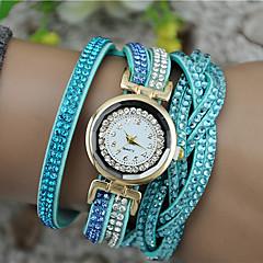 お買い得  レディース腕時計-女性用 クォーツ ブレスレットウォッチ 模造ダイヤモンド PU バンド チャーム ファッション ブラック 白 ブルー ブラウン パープル ローズ