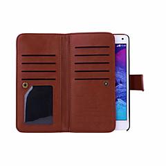 Недорогие Чехлы и кейсы для Galaxy Note 5-Кейс для Назначение SSamsung Galaxy Samsung Galaxy Note Кошелек Чехол Сплошной цвет Кожа PU для Note 5 Note 4