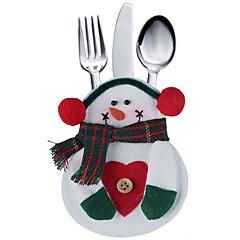 2db konyha edények táska hóember zseb állítja silveware tartó karácsonyi party dekoráció