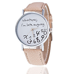 preiswerte Damenuhren-Damen Quartz Armbanduhr Armbanduhren für den Alltag PU Band Uhr mit Wörtern Modisch Schwarz Weiß Rot Braun Grau Khaki