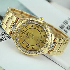 Mulheres Relógio de Moda Simulado Diamante Relógio Quartzo Aço Inoxidável Banda Prata Dourada