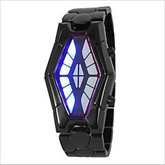 Heren Dames Voor Stel Modieus horloge Unieke creatieve horloge Digitaal LED Waterbestendig Legering Band Creatief Zwart ZilverZilver