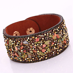 cheap Women's Jewelry-Women's Wrap Bracelet / Leather Bracelet - Leather, Rhinestone Bohemian, Fashion Bracelet Red / Light Brown / Dark Brown For Christmas Gifts / Party / Daily