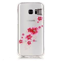 Varten Samsung Galaxy S7 Edge Paljetti / LED salamavalo / Läpinäkyvä / Kuvio Etui Takakuori Etui Kukka Pehmeä TPU SamsungS7 edge / S7 /