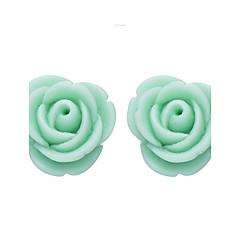 Серьга В форме цветка Серьги-гвоздики Бижутерия 1 пара Мода Повседневные Резина Женский Светло-зеленый