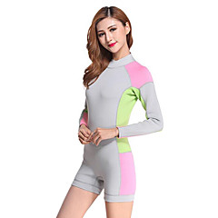 Pentru femei 2mm Costume umede Shorts Neopren Neopren Scurt Compresie Tactel Diving Suit Mânecă LungăCostume de scafandru Pantaloni