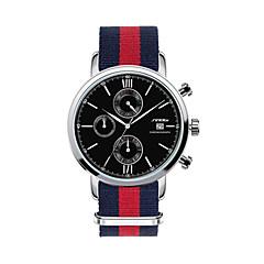 お買い得  メンズ腕時計-SINOBI 男性用 スポーツウォッチ カレンダー / クロノグラフ付き / 耐水 生地 バンド チャーム ブラック / 白 / ステンレス / ストップウォッチ