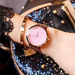 preiswerte Tolle Angebote auf Uhren-Damen Modeuhr Japanischer Quartz Armbanduhren für den Alltag Edelstahl Band Analog Glanz Rotgold - Schwarz Blau Rosa