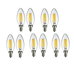 お買い得  LED 電球-10個 4W 360lm E14 フィラメントタイプLED電球 C35 4 LEDビーズ COB 装飾用 温白色 / クールホワイト 220-240V