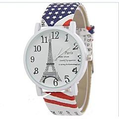 preiswerte Tolle Angebote auf Uhren-Damen Modeuhr Quartz Armbanduhren für den Alltag Cool Legierung Band Analog Eiffelturm Weiß / Blau / Rot - Braun Rot Blau