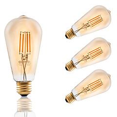 お買い得  LED 電球-4W E26 フィラメントタイプLED電球 ST21 4 COB 320 lm アンバー 2200 K 調光可能 AC 110-130 V