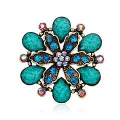vrouwen hars blad groot kristal strass vergulde bloem pinnen sieraden broches voor partij / dag