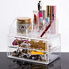 お買い得  化粧箱、袋&鉢-メイク用品収納 化粧品箱 / メイク用品収納 プラスチック / アクリル ゼブラプリント 18.5*10*15.5 cm ビスク