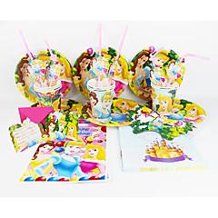 お買い得  ホームデコレーション-ディズニープリンセス92pcs誕生日パーティーの装飾の子供evnentパーティー用品パーティーの装飾12人が使います