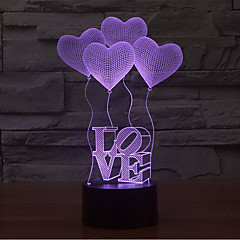 aiment toucher gradation 3d conduit de lumière de nuit lampe atmosphère décoration 7colorful éclairage nouveauté lumière de Noël