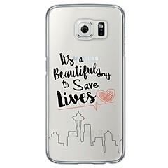 abordables Galaxy S6 Carcasas / Fundas-Funda Para Samsung Galaxy Samsung Galaxy S7 Edge Ultrafina Traslúcido Funda Trasera Palabra / Frase Suave TPU para S7 edge S7 S6 edge