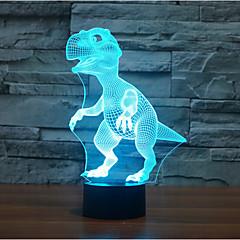דינוזאור מגע העמעום 3D LED מנורת לילה מנורת אווירת קישוט 7colorful תאורת חידוש אור חג המולד