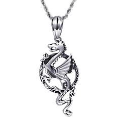 Недорогие Ожерелья-Муж. Ожерелья с подвесками - Нержавеющая сталь Дракон Мода Серебряный Ожерелье Бижутерия Назначение Для вечеринок, Повседневные