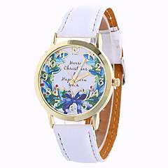 olcso hu_Floral Watches-Női Divatos óra Kvarc Digitális Holdfázis PU Zenekar Amulett Virág Vintage Édesség Alkalmi Menő Fekete Fehér