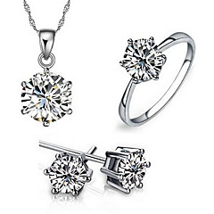 cheap Jewelry Sets-Women's Sterling Silver Zircon Cubic Zirconia Gold Plated Jewelry Set Rings Earrings Necklace - Love Fashion Adorable European Six Prongs