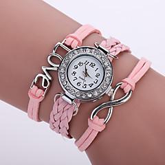 preiswerte Damenuhren-Damen Armband-Uhr / Armbanduhr Imitation Diamant PU Band Glanz / Retro / Freizeit Schwarz / Weiß / Blau / Edelstahl / Ein Jahr