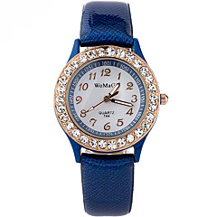 お買い得  レディース腕時計-女性用 リストウォッチ クォーツ ラインストーン クール 模造ダイヤモンド PU バンド ハンズ カジュアル ファッション ブラック / 白 / ブルー - Brown レッド ブルー 1年間 電池寿命 / SSUO LR626
