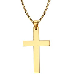 Men's Fashion Simple Golden Cruciform IP Gold Plating High Polished Stainless Steel Pendant Necklaces(1pc) Christmas Gifts