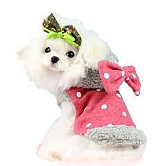قط كلب المعاطف هوديس ملابس الكلاب جميل الدفء ببيونة أحمر أزرق كوستيوم للحيوانات الأليفة