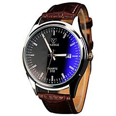 お買い得  大特価腕時計-YAZOLE 男性用 リストウォッチ クォーツ カジュアルウォッチ クール / PU バンド ハンズ カジュアル ブラウン - ホワイト ブラック