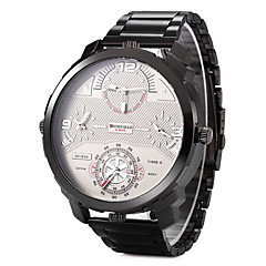 お買い得  大特価腕時計-男性用 リストウォッチ 軍用腕時計 ファッションウォッチ クォーツ 3タイムゾーン 2タイムゾーン ステンレス バンド クール ブラック シルバー