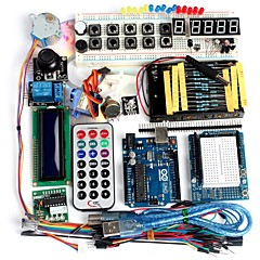 cheap DIY Kits-Funduino Advanced Starter Kit LCD Servo Motor Dot Matrix Breadboard LED Basic Element Pack Compatible for Arduino