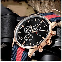 preiswerte Tolle Angebote auf Uhren-Herrn Quartz Armbanduhr Armbanduhren für den Alltag Stoff Band Freizeit / Modisch Schwarz / Weiß