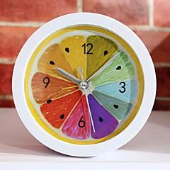 새로운 스타일의 농촌 시원한 레몬 과일 알람 시계 현대적인 미니멀 한 데스크톱 시계 게으른 시계 시계