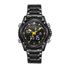 preiswerte Herrenuhren-NAVIFORCE Herrn Quartz Armbanduhr Wasserdicht LED Edelstahl Band Luxus Schwarz