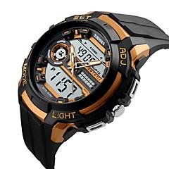 お買い得  大特価腕時計-SKMEI 男性用 スポーツウォッチ リストウォッチ クォーツ 日本産クォーツ ブラック 30 m 耐水 アラーム カレンダー アナログ/デジタル オレンジ グレー レッド / 光る / LCD / 2タイムゾーン / 3タイムゾーン / ストップウォッチ