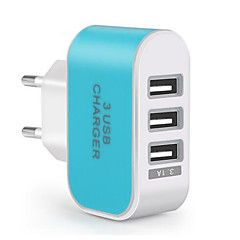 Portable Charger Phone USB Charger EU Plug Fast Charge Multi Ports 3 USB Ports 0.8A AC 100V-240V