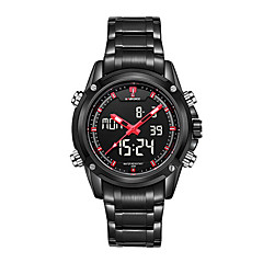 お買い得  大特価腕時計-NAVIFORCE 男性用 クォーツ リストウォッチ 耐水 LED ステンレス バンド ぜいたく ブラック