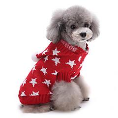 Koty Psy Swetry Ubrania dla psów Zima Gwiazdki Urocze Zatrzymujący ciepło Święta Bożego Narodzenia Czerwony Niebieski