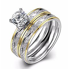 Mulheres Anéis Grossos Anel de noivado Zircônia cúbica Amor Moda Europeu bijuterias Zircão Aço Titânio Formato Circular Jóias Para