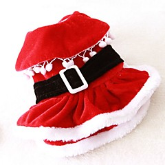Cat Dog Costume Dress Dog Clothes Cute Cosplay Christmas Solid Red Costume For Pets