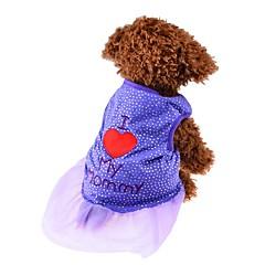 お買い得  猫の服-ネコ 犬 Tシャツ ドレス 犬用ウェア ハート ブラック パープル ピンク コットン コスチューム ペット用 女性用 キュート ファッション