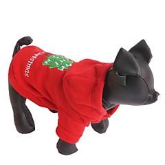 billige Kat Tøj-Kat / Hund Hættetrøjer Hundetøj Ensfarvet Rød Polarfleece Kostume For kæledyr Herre / Dame Jul / Nytår