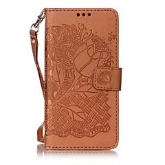 Для Бумажник для карт / Флип / Рельефный Кейс для Чехол Кейс для Цветы Твердый Искусственная кожа для Sony Sony Xperia XA