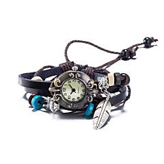 billige Armbåndsure-Dame Modeur Armbåndsur Quartz Vandafvisende Læder Bånd Vintage Bohemisk Bangles Brun