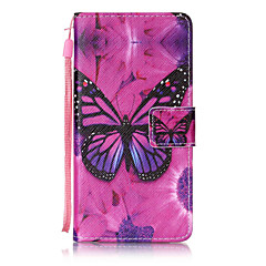 tanie Etui / Pokrowce do Huawei-Do huawei p8 lite p9 pokrowiec pokrowiec motyl deseń malowanie kartą stent pu skóra