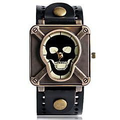Herre Sportsur Modeur Unik Creative Watch Quartz Punk Læder Bånd Vintage Kranium camouflage Sej Afslappet Sort Blåt Rød