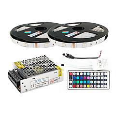 preiswerte LED Lichtstreifen-ZDM® 2x5M Leuchtbänder RGB 2*150 LEDs 1 44Tastenfernbedienung / 1 x 5A Netzteil / 1 Gleichstromkabel RGB Schneidbar / Selbstklebend /