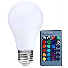 1pcs 5w e27 ha condotto le lampadine del globo rgb dimmable 24key a distanza di 16 variazioni di colore (ac85-265v)