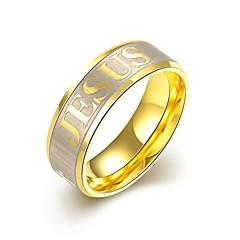 Férfi Gyűrű Eljegyzési gyűrű kezdeti ékszerek Személyre szabott Európai jelmez ékszerek Rozsdamentes acél Arannyal bevont Ékszerek